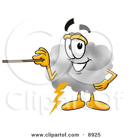 Clipart Picture of a Cloud Mascot Cartoon Character Holding a Pointer Stick by Toons4Biz