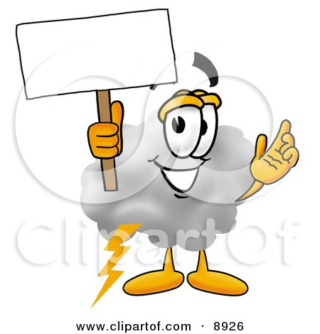 Clipart Picture of a Cloud Mascot Cartoon Character Holding a Blank Sign by Toons4Biz
