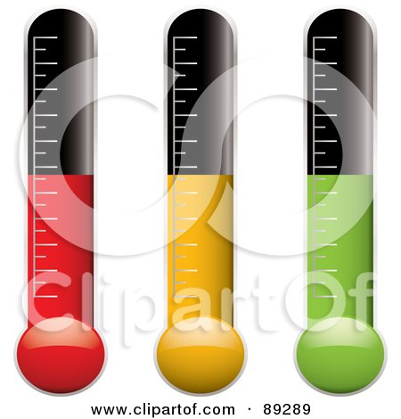 Royalty-Free (RF) Clipart Illustration of a Digital Collage Of Red, Yellow And Green Thermometer Variations by michaeltravers