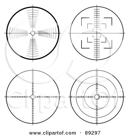 Royalty-Free (RF) Clipart Illustration of a Digital Collage of Four Rifle Targets by michaeltravers