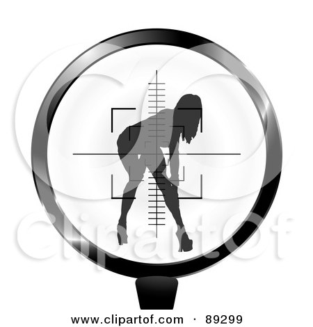 Royalty-Free (RF) Clipart Illustration of a Rifle Target Focused On A Sexy Woman by michaeltravers