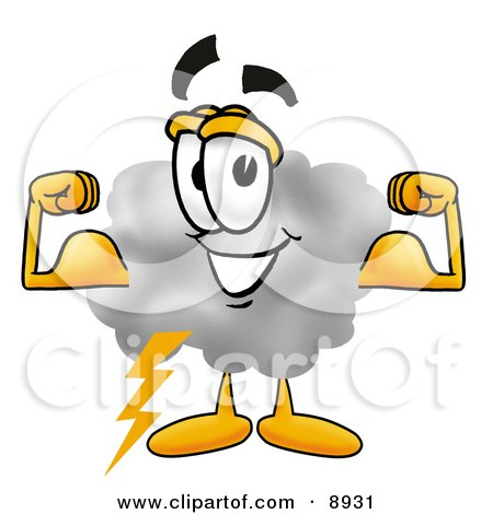 Clipart Picture of a Cloud Mascot Cartoon Character Flexing His Arm Muscles by Toons4Biz