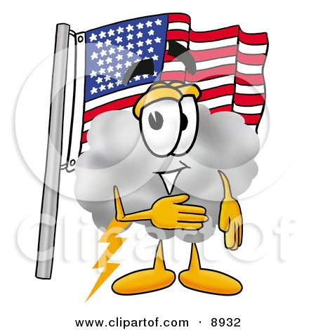 Clipart Picture of a Cloud Mascot Cartoon Character Pledging Allegiance to an American Flag by Toons4Biz