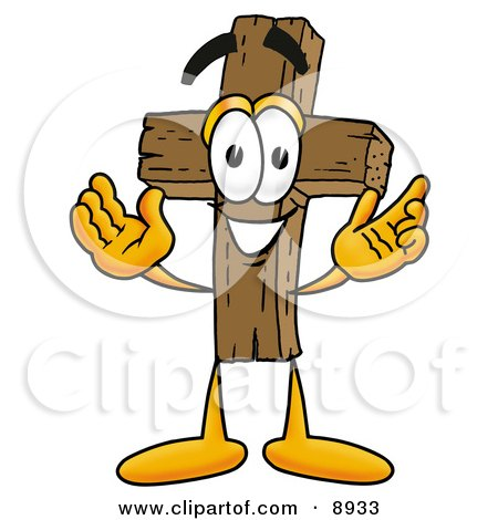 Clipart Picture of a Wooden Cross Mascot Cartoon Character With Welcoming Open Arms by Toons4Biz