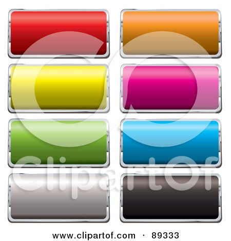 Royalty-Free (RF) Clipart Illustration of a Digital Collage Of Shiny Colorful 3d Rectangle And Silver App Buttons by michaeltravers