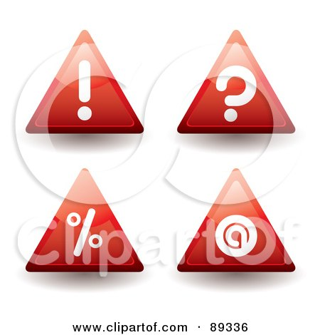 Royalty-Free (RF) Clipart Illustration of a Digital Collage Of Red Warning, Question Mark, Percenta Nd Contact Triangle Icons by michaeltravers