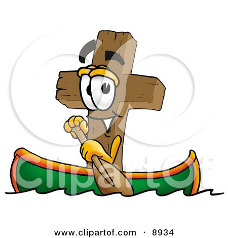 Clipart Picture of a Wooden Cross Mascot Cartoon Character Rowing a Boat by Toons4Biz