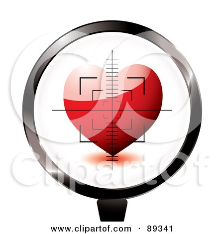 Royalty-Free (RF) Clipart Illustration of a Rifle Target Focused On A Red Heart by michaeltravers