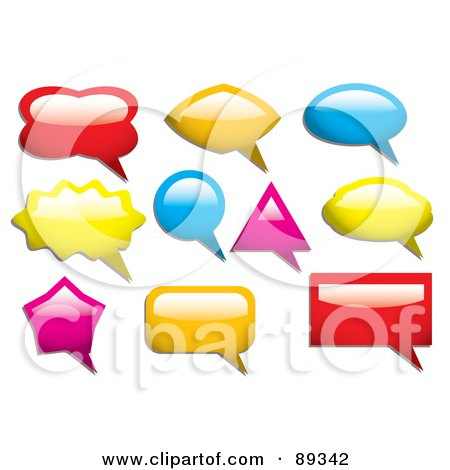 Royalty-Free (RF) Clipart Illustration of a Digital Collage Of Colorful Shiny Speach Bubble Icons by michaeltravers