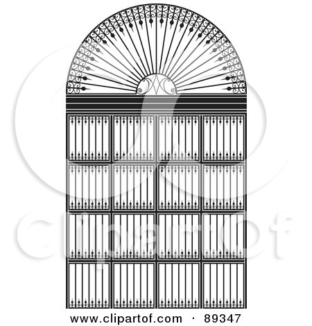 Royalty-Free (RF) Clipart Illustration of a Black And White Wrought Iron Archway by Frisko