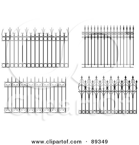 Royalty-Free (RF) Clipart Illustration of a Digital Collage Of Ornate Wrought Iron Fencing - Version 8 by Frisko