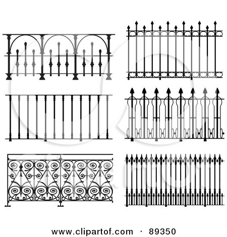 Royalty-Free (RF) Clipart Illustration of a Digital Collage Of Ornate Wrought Iron Fencing - Version 9 by Frisko