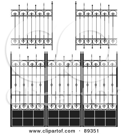 Royalty-Free (RF) Clipart Illustration of a Digital Collage Of Ornate Wrought Iron Fencing - Version 6 by Frisko