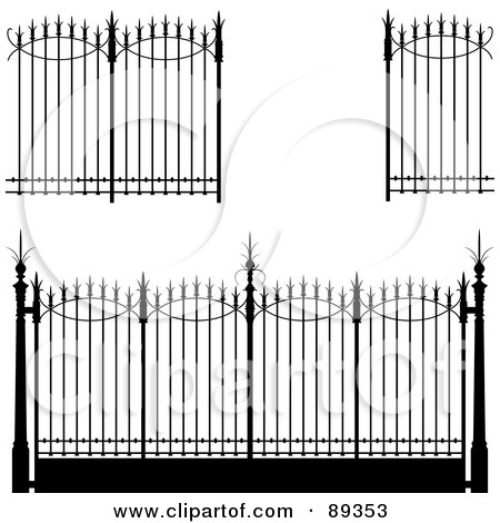 Royalty-Free (RF) Clipart Illustration of a Digital Collage Of Ornate Wrought Iron Fencing - Version 4 by Frisko