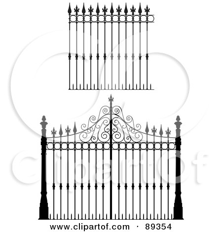 Royalty-Free (RF) Clipart Illustration of a Digital Collage Of Ornate Wrought Iron Fencing - Version 3 by Frisko