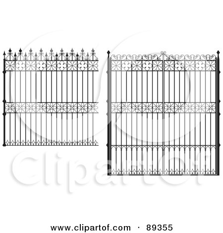 Royalty-Free (RF) Clipart Illustration of a Digital Collage Of Ornate Wrought Iron Fencing - Version 5 by Frisko