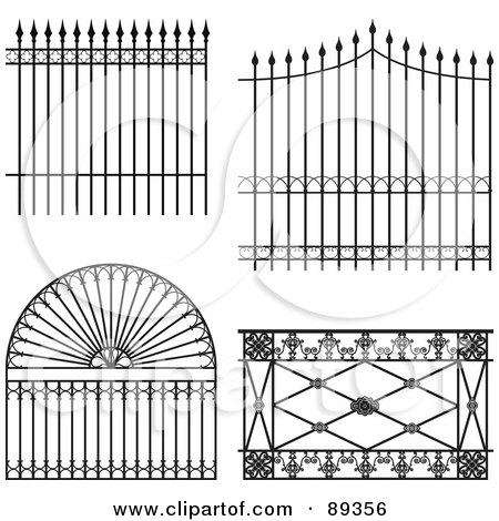Royalty-Free (RF) Clipart Illustration of a Digital Collage Of Ornate Wrought Iron Fencing - Version 7 by Frisko