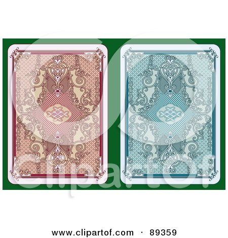 Royalty-Free (RF) Clipart Illustration of a Digital Collage Of Two Playing Card Back Side Designs - Version 2 by Frisko