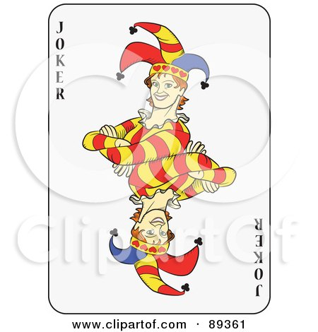 Royalty-Free (RF) Clipart Illustration of a Joker Playing Card Design - Version 1 by Frisko