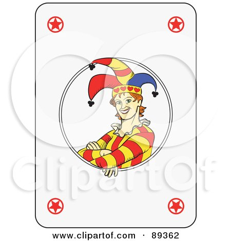 Royalty-Free (RF) Clipart Illustration of a Joker Playing Card Design - Version 2 by Frisko