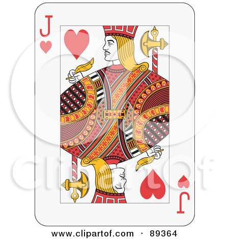 Royalty-Free (RF) Clipart Illustration of a Jack Of Hearts Playing Card Design by Frisko