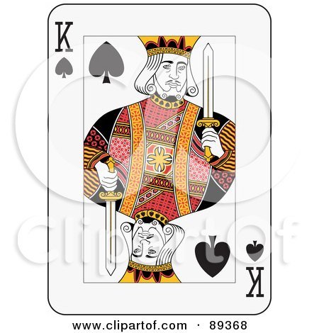 Royalty-Free (RF) Clipart Illustration of a King Of Spades Playing Card Design by Frisko