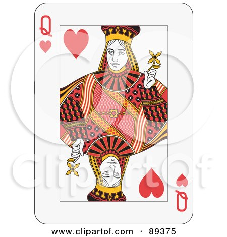 Royalty-Free (RF) Clipart Illustration of a Queen Of Hearts Playing Card Design by Frisko