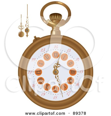Royalty-Free (RF) Clipart Illustration of a Pocket Watch With Extra Arms - Version 2 by Frisko