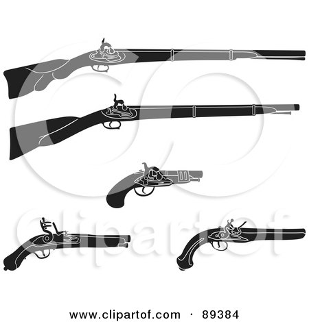 Royalty-Free (RF) Clipart Illustration of a Digital Collage Of Black And White Rifles And Pistils by Frisko