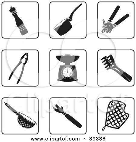 Royalty-Free (RF) Clipart Illustration of a Digital Collage Of Black And White Kitchen Icons by Frisko