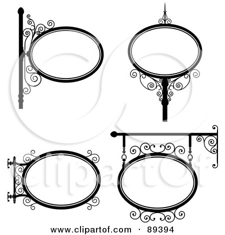 Royalty-Free (RF) Clipart Illustration of a Digital Collage Of Black And White Wrought Iron Storefront Signs - Version 1 by Frisko