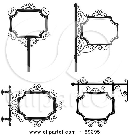 Royalty-Free (RF) Clipart Illustration of a Digital Collage Of Black And White Wrought Iron Storefront Signs - Version 3 by Frisko