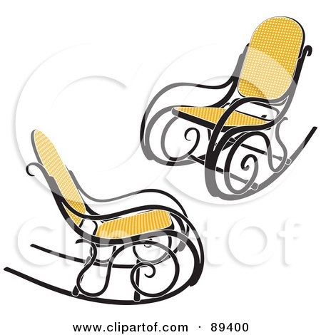 Royalty-Free (RF) Clipart Illustration of a Digital Collage Of Two Wicker Rocking Chairs by Frisko