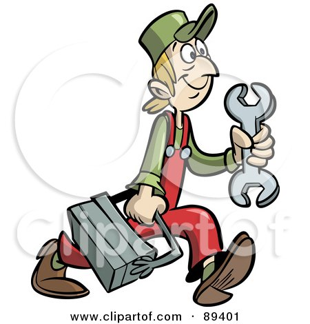 Royalty-Free (RF) Clipart Illustration of a Scrawny Handy Man Or Mechanic With A Tool Box by Frisko