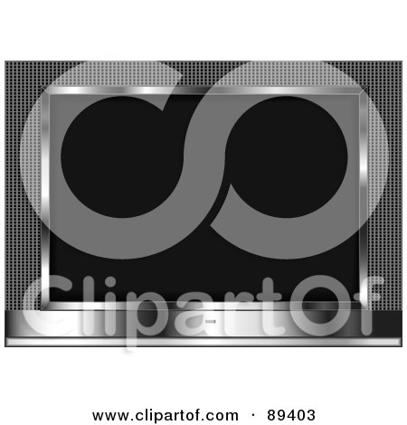 Royalty-Free (RF) Clipart Illustration of a Blank Black Screen On A Silver LCDTelevision by tdoes
