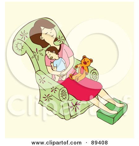 Royalty-Free (RF) Clipart Illustration of a Tired Woman Napping With Her Baby On A Chair by Cherie Reve