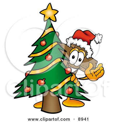 Clipart Picture of a Wooden Cross Mascot Cartoon Character Waving and Standing by a Decorated Christmas Tree by Toons4Biz