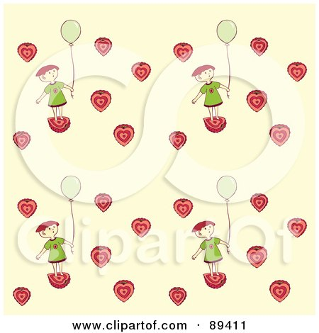 Royalty-Free (RF) Clipart Illustration of a Seamless Girl With A Balloon And Strawberry Hearts Pattern On Beige by Cherie Reve