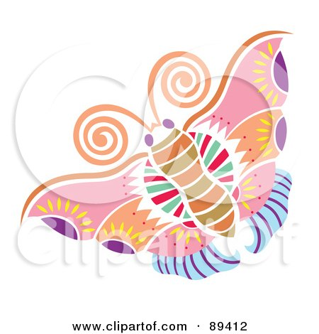 Royalty-Free (RF) Clipart Illustration of a Colorful And Ornate Patterned Butterfly - Version 2 by Cherie Reve