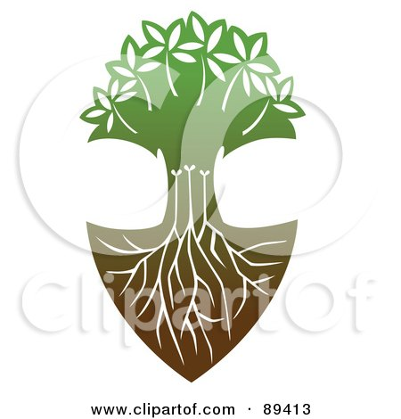 Royalty-Free (RF) Clipart Illustration of a Tree With Deep Roots by Cherie Reve