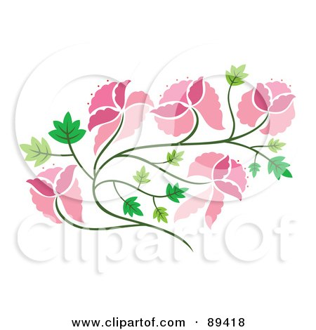 Royalty-Free (RF) Clipart Illustration of a Pink Floral Vine And Green Leaves, by Cherie Reve