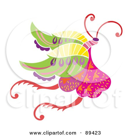 Royalty-Free (RF) Clipart Illustration of a Colorful And Ornate Patterned Butterfly - Version 1 by Cherie Reve