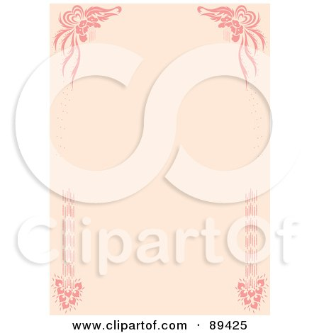 Royalty-Free (RF) Clipart Illustration of a Pink Wedding Border With Corner Elements by Cherie Reve