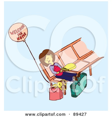 Royalty-Free (RF) Clipart Illustration of an Exhausted Mom Napping On A Bench With Her Baby by Cherie Reve