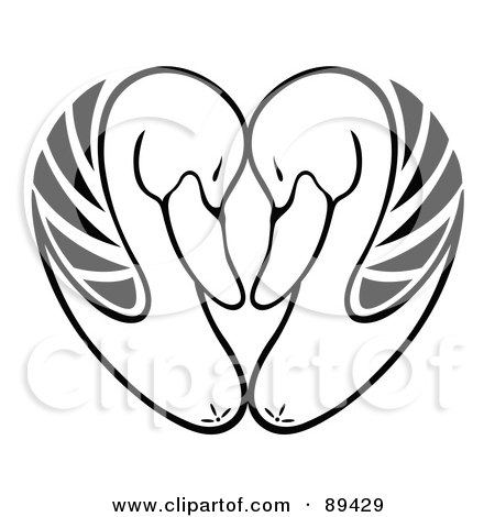 Royalty-Free (RF) Clipart Illustration of a Black And White Heart Formed Of Swan Heads by Cherie Reve