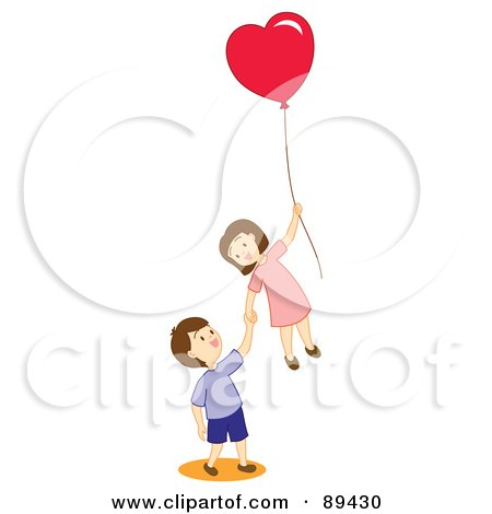 ... of a Boy And Girl Floating Away With A Heart Balloon by Cherie Reve