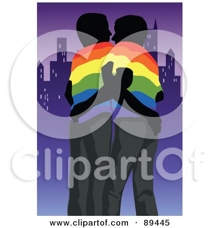 Royalty-Free (RF) Clipart Illustration of a Gay Couple Wearing Rainbow Shirts, Embracing And Standing By A City by mayawizard101