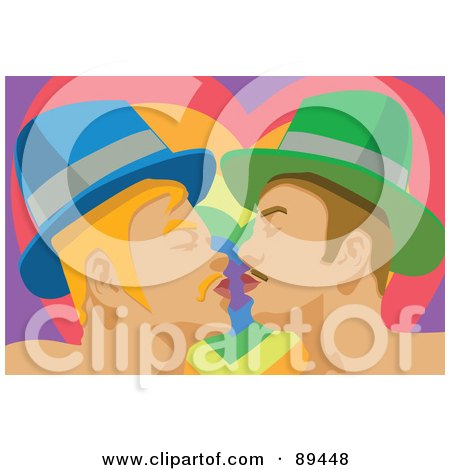 Royalty-Free (RF) Clipart Illustration of a Gay Couple Kissing In Front Of A Rainbow Heart by mayawizard101