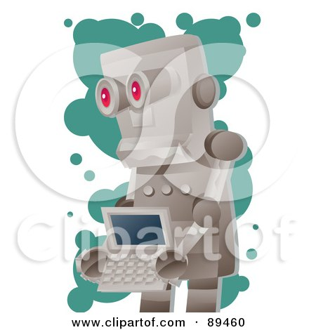 Royalty-Free (RF) Clipart Illustration of a Metal Robot Carrying A Laptop by mayawizard101