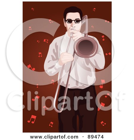 Royalty-Free (RF) Clipart Illustration of a Man Playing A Trombone, Over Red With Music Notes by mayawizard101